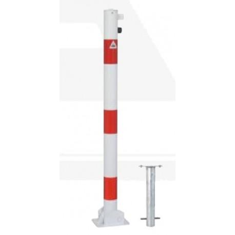 Einbetonieren Absperrpfosten rot//weiß klappbar Vierkant Zylinderschloss Stahl
