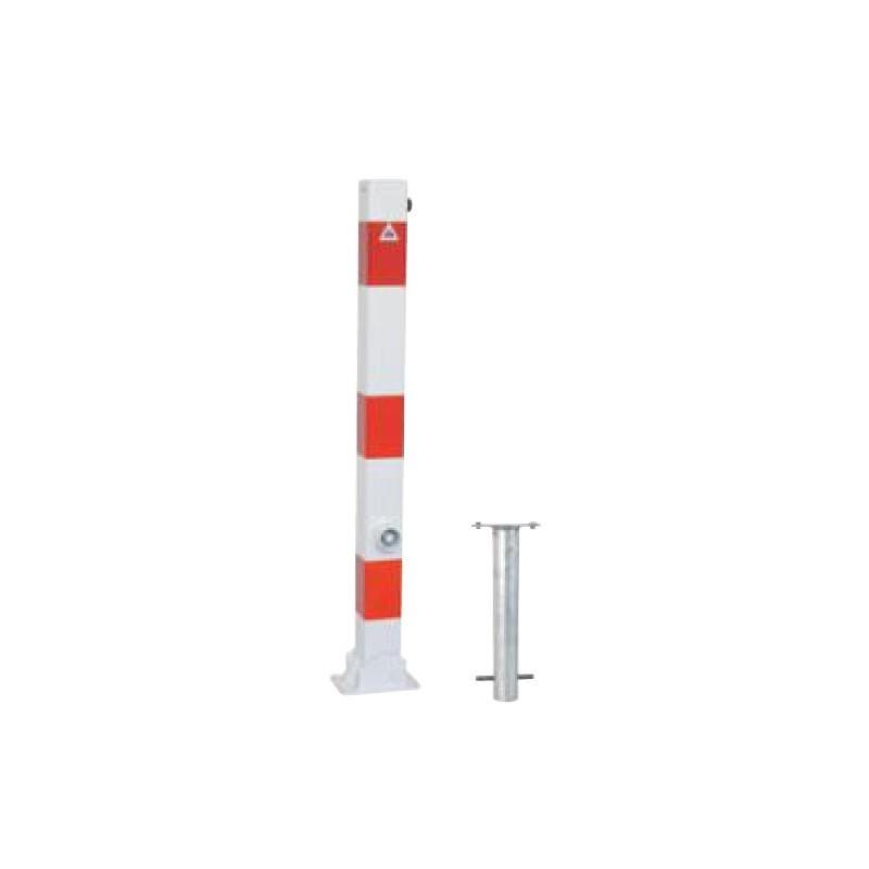 Absperrpfosten klappbar 60 mm Stahlrohr weiß rot Dreikant für Dübelbefestigung