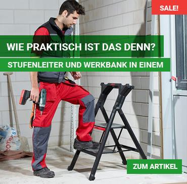 Stufenleiter und Werkbank in einem